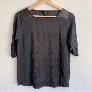 Lucky Brand sheer panel embroidered 3/4 sleeve top